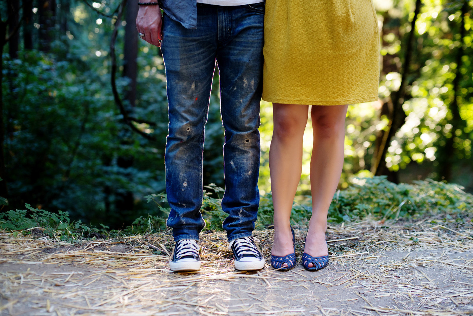 a couple's colorful clothes and artist pants at mt tabor