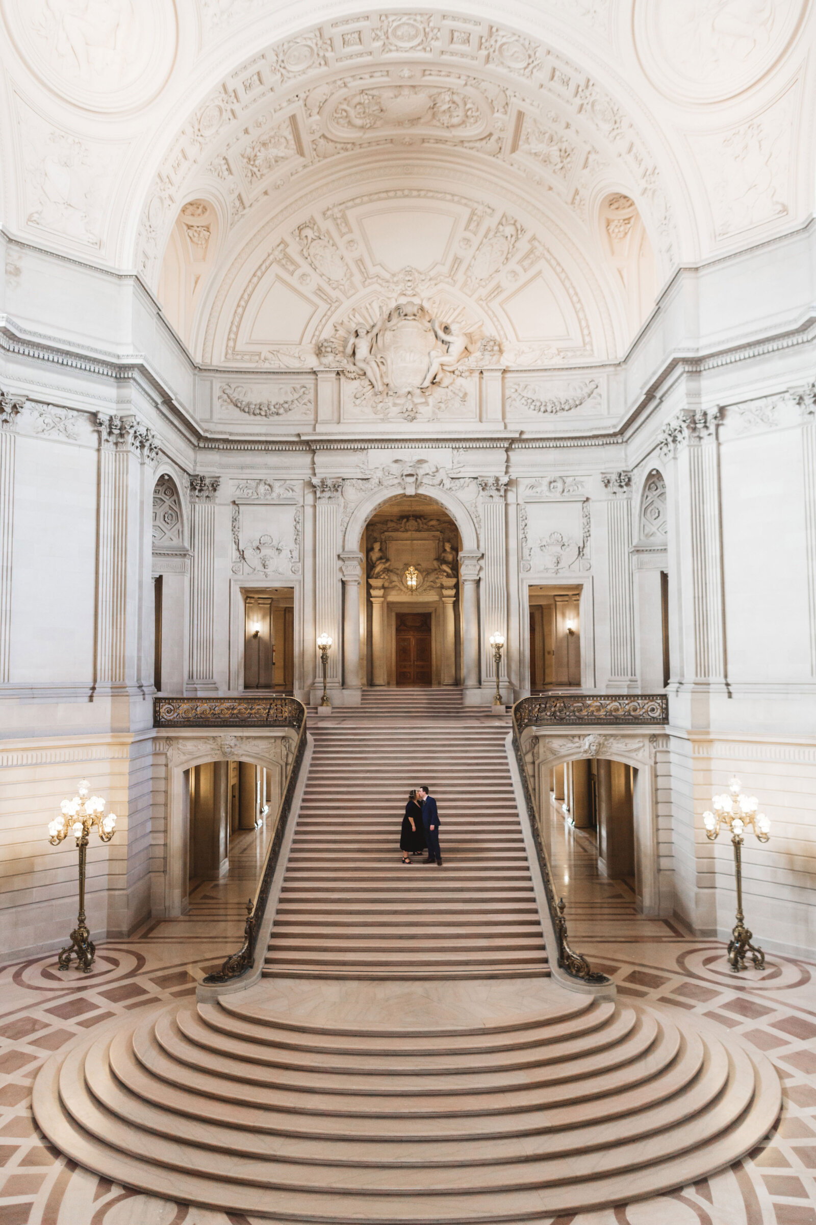 epic wide shot of grand staircase of sf city hall, san francisco ca