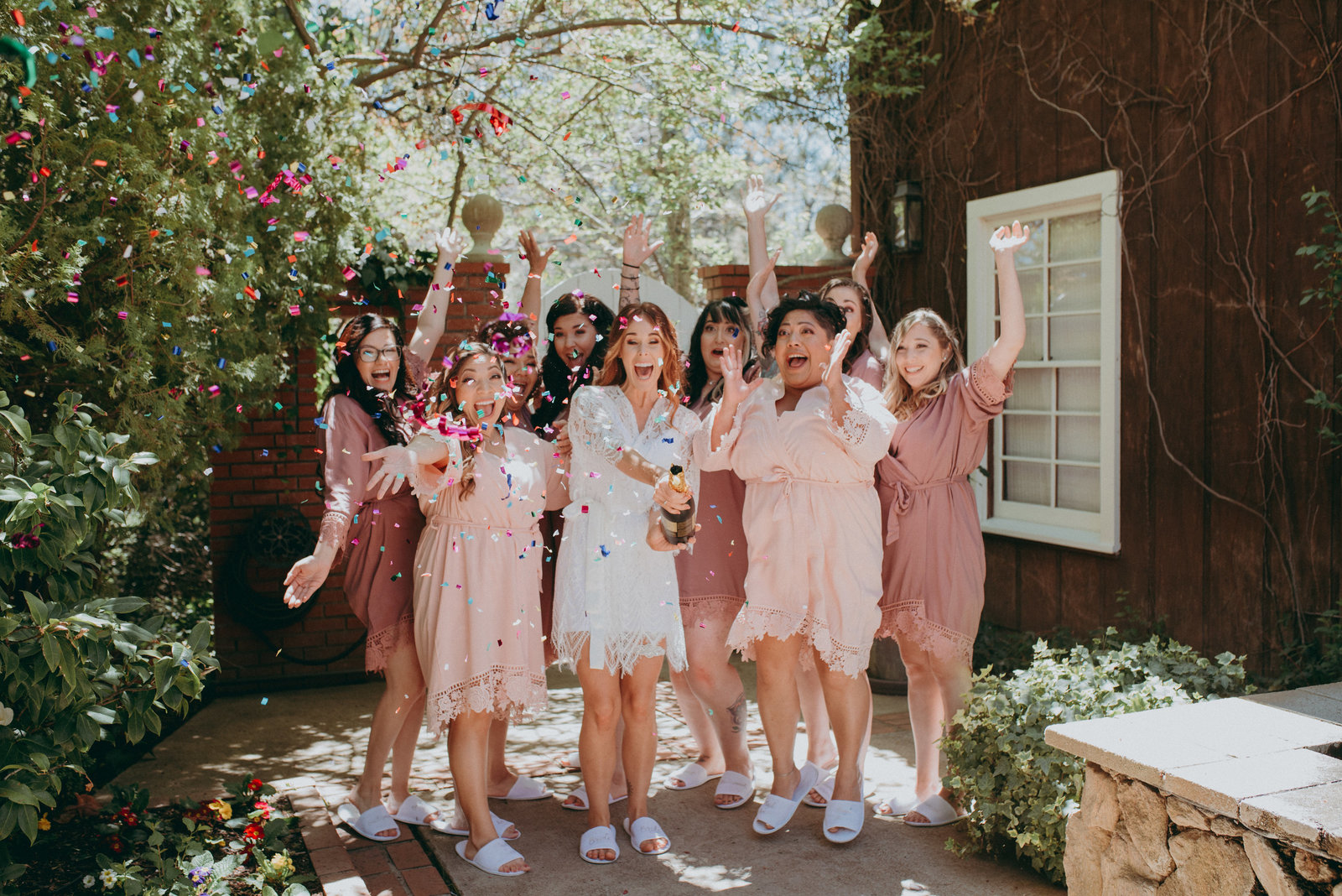Portrait of the Bridal party celebrating
