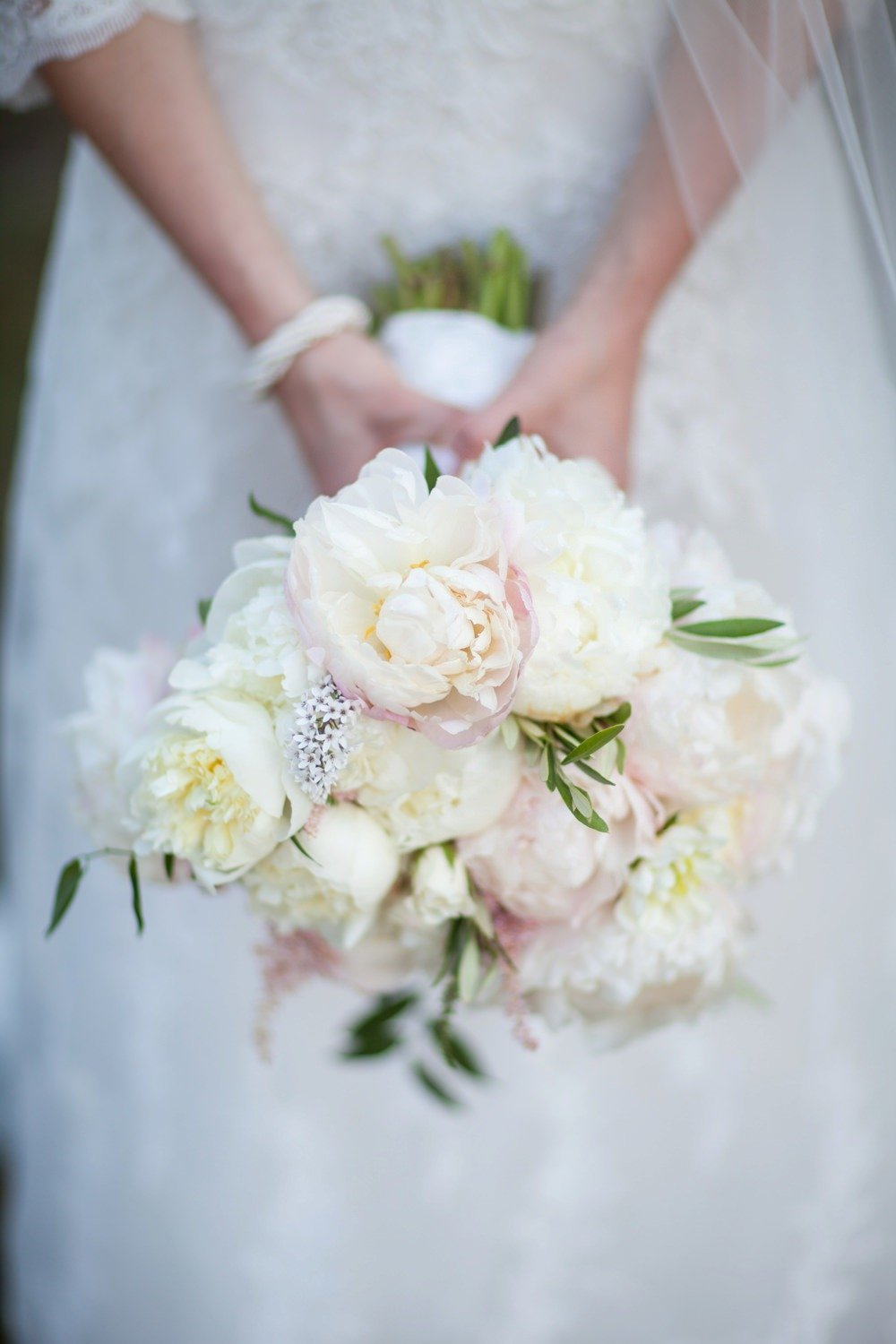 Classic white and blush peony bridal bouquet