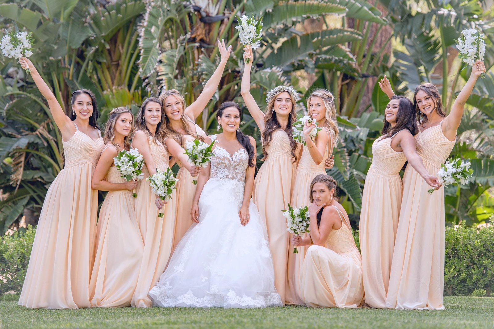 fun bridal party portrait at the newhall mansion