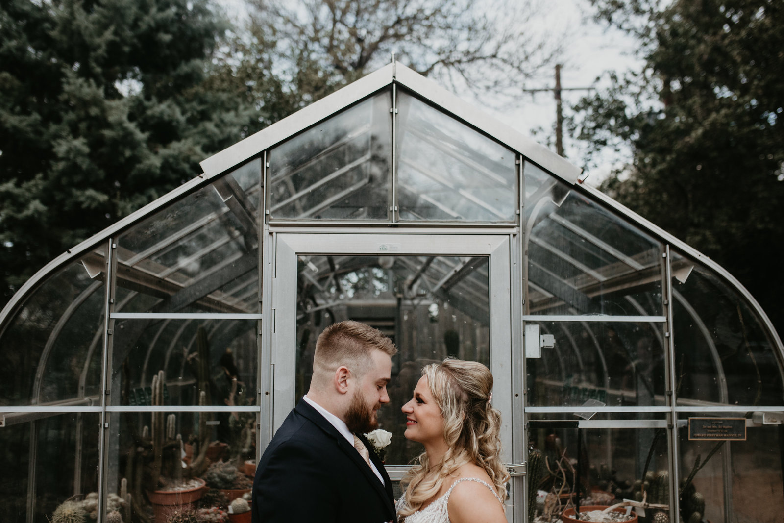 bride and groom portraits at the greenhouse at fort worth botanical gardens