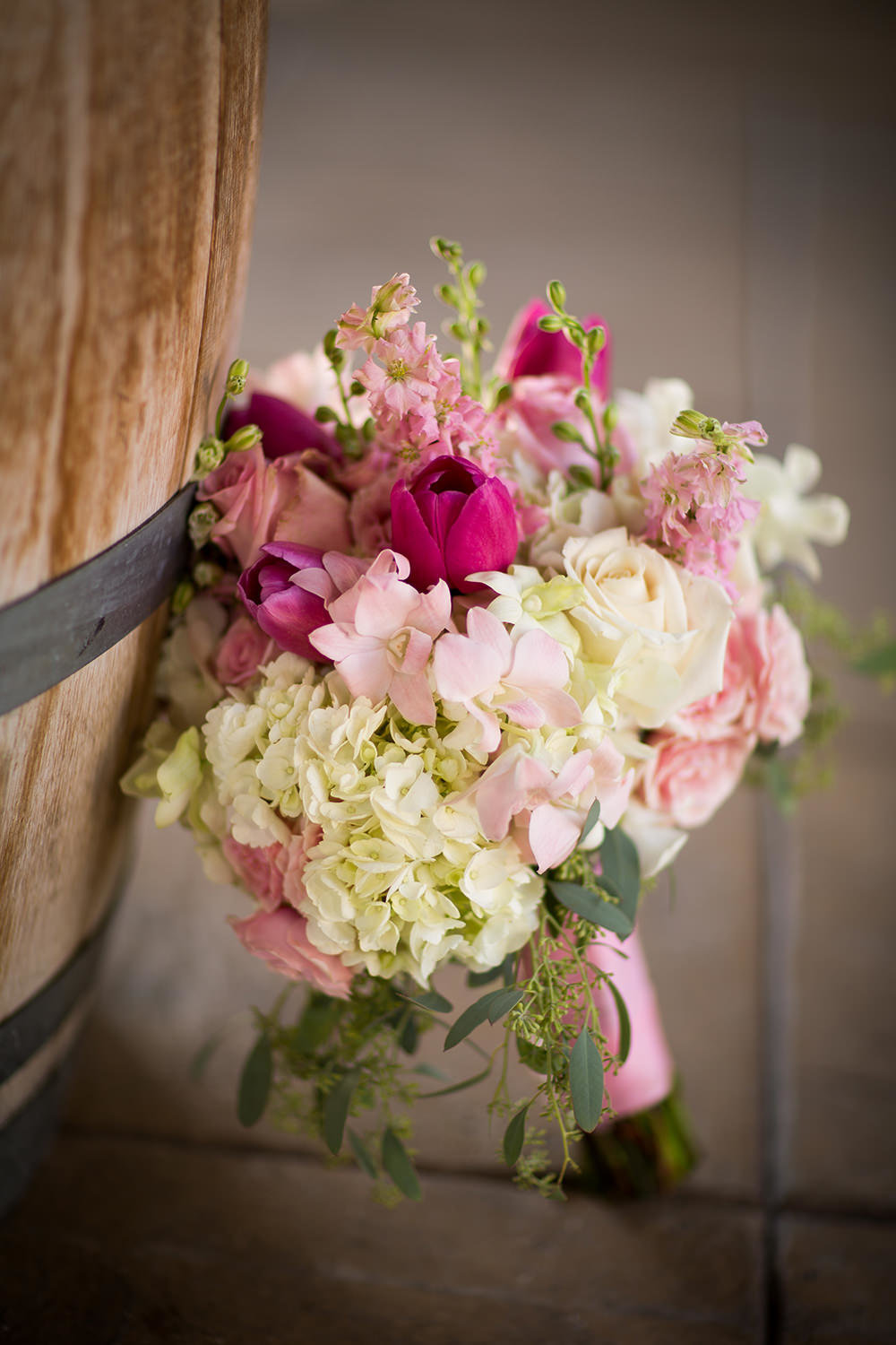 beautiful bouquet with pink white and bright pink wedgewood
