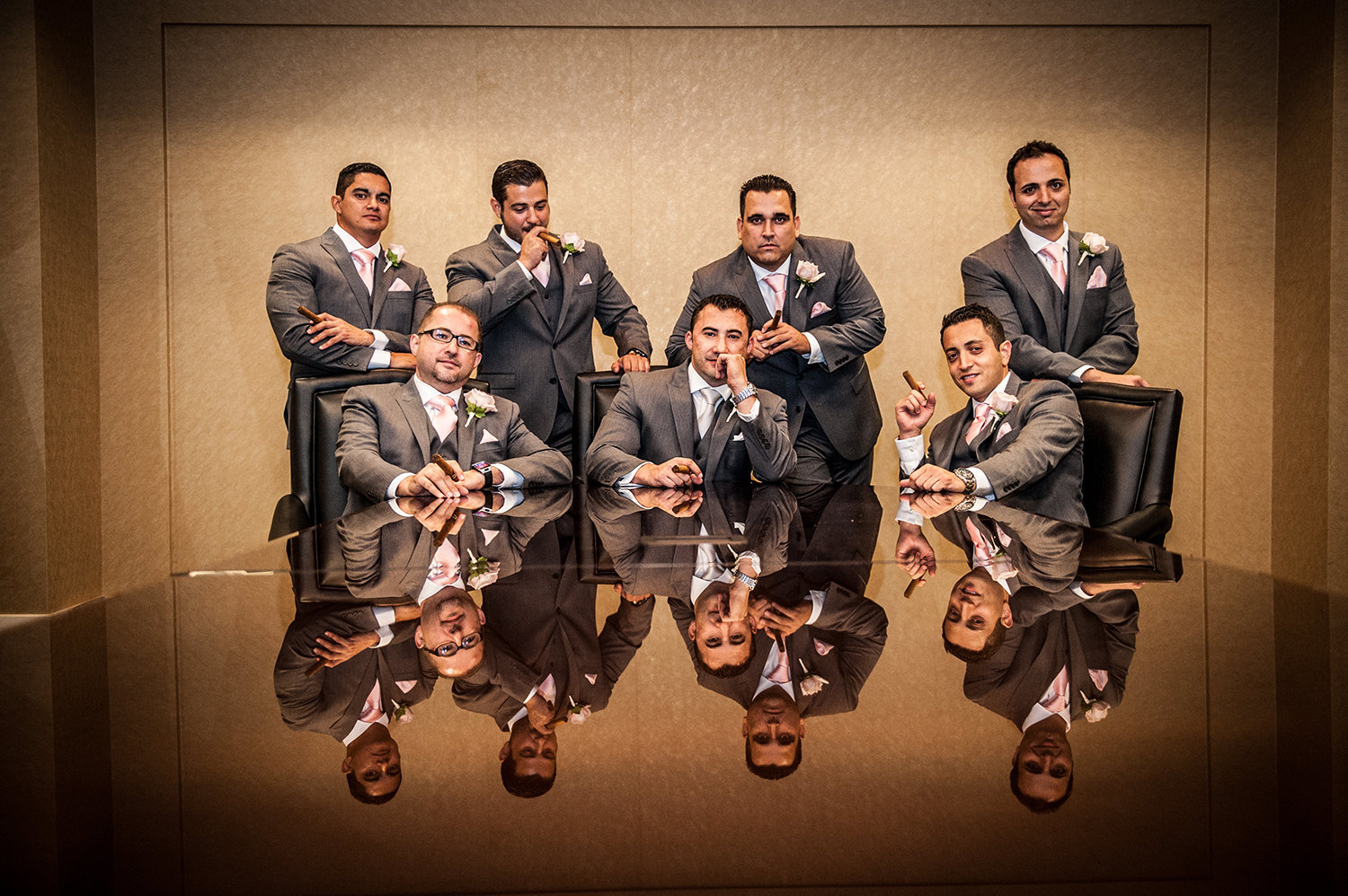 Hyatt La Jolla wedding photos dramatic groomsmen shot