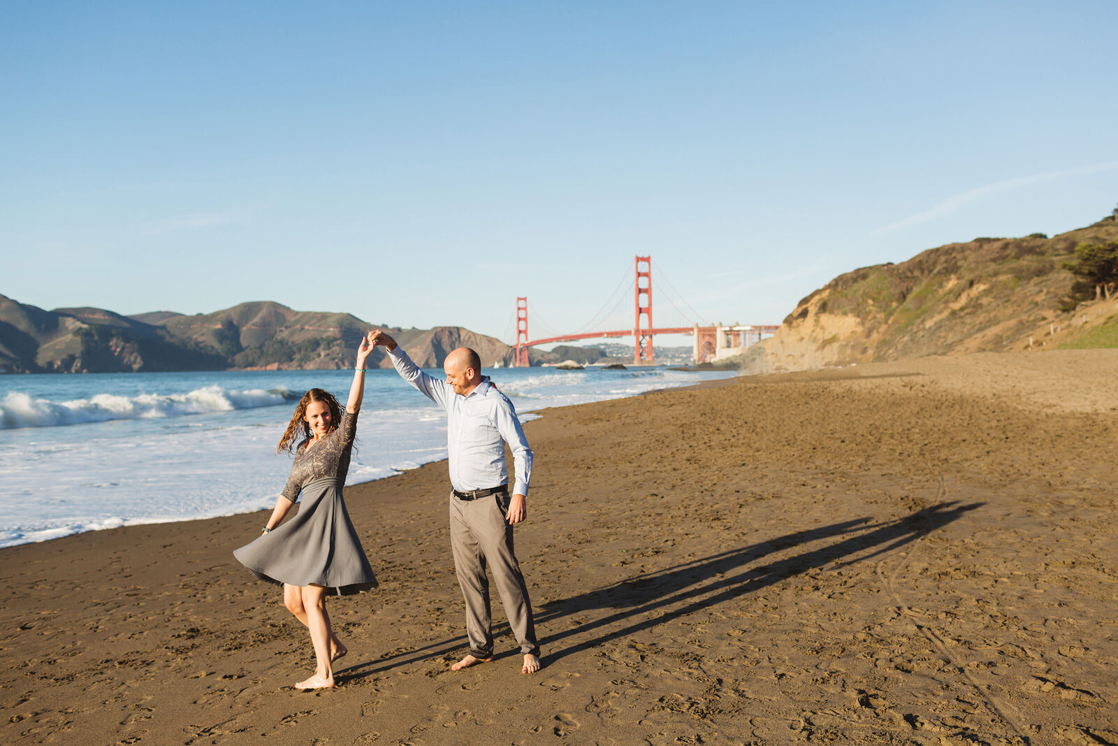 baker beach engagement photgraphy