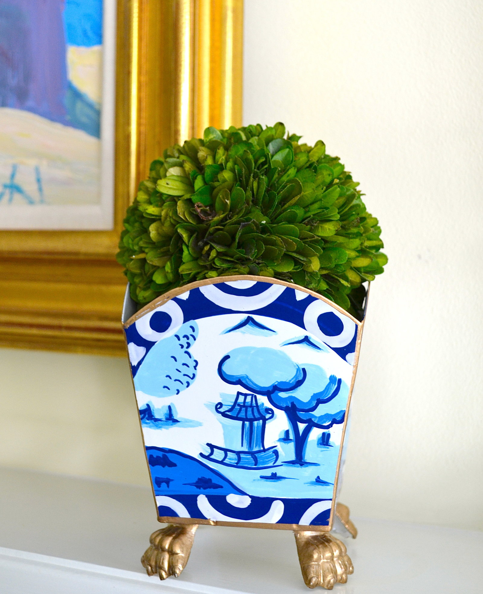 topiary home decor blue and white