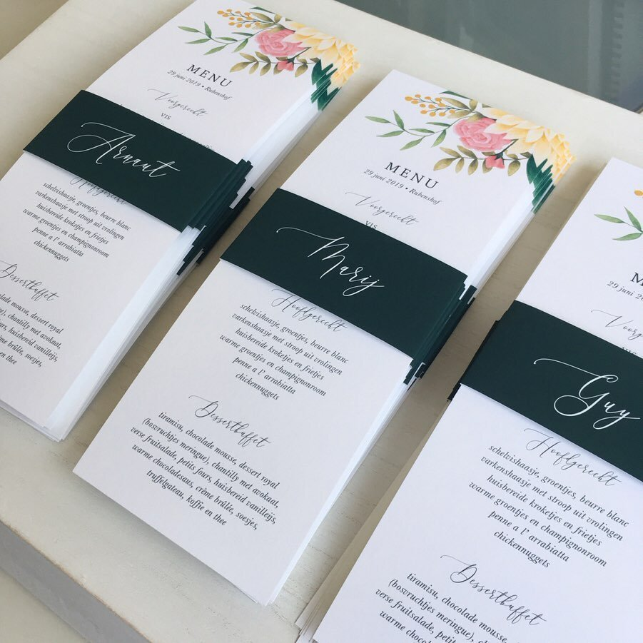 Custom menu card design with place card belly bands