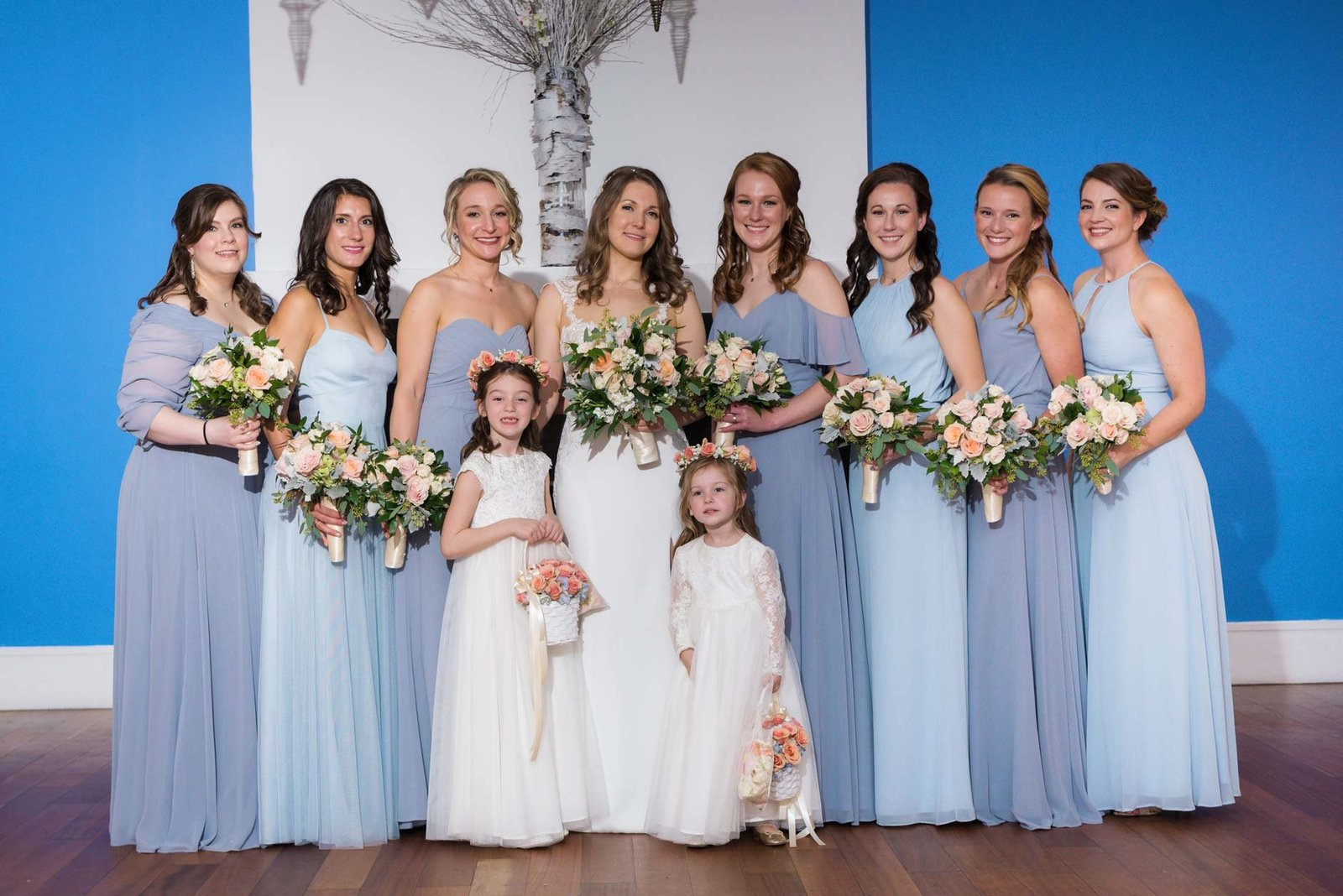 Bride with bridesmaids and flower girls at  Allegria Hotel