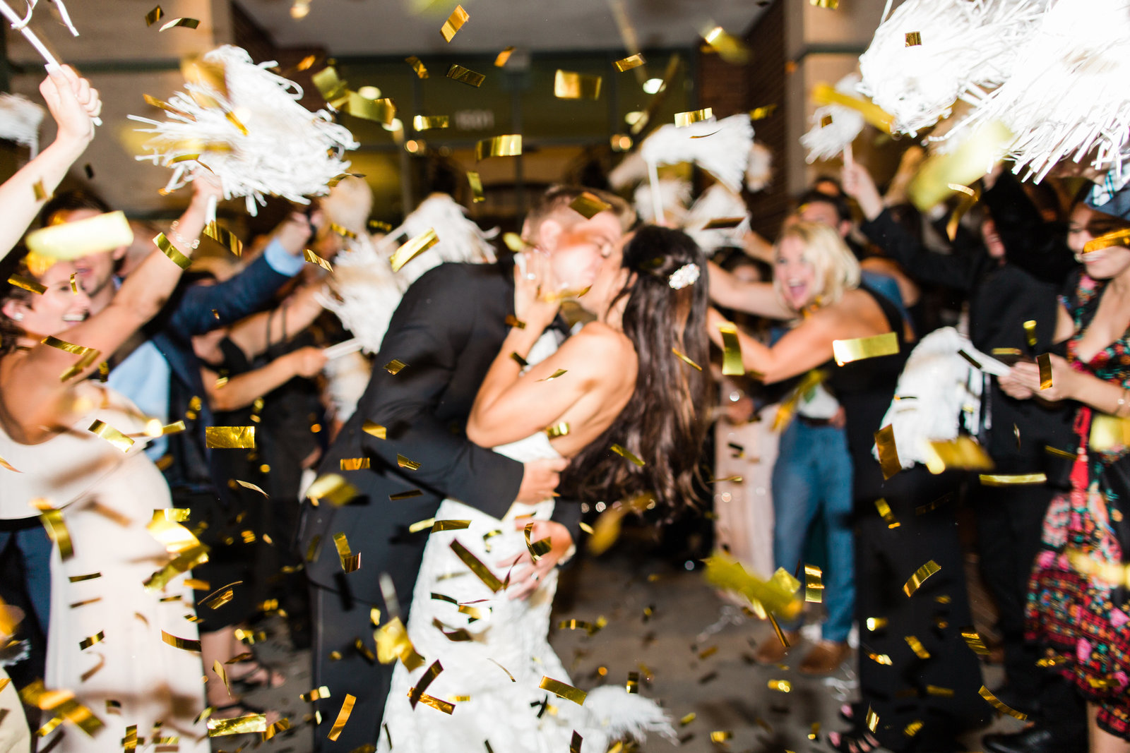 confetti exit for the bride and groom