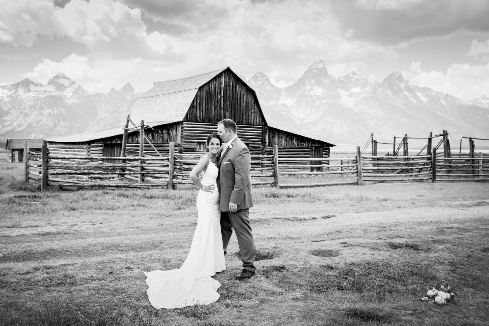 Mormon Row wedding in Grand Teton national park.