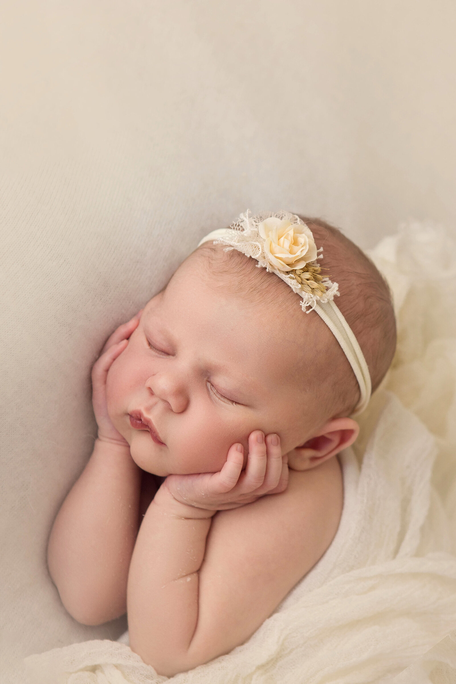 Professional studio portrait of newborn baby asleep with yellow flower headband