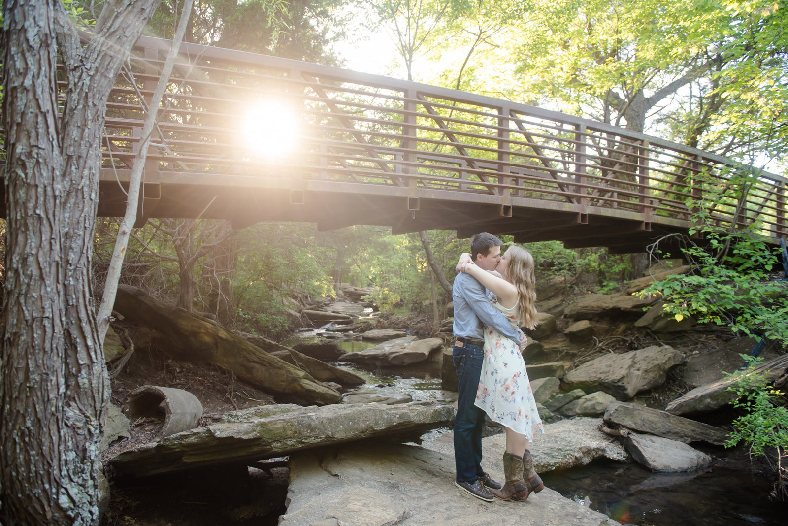 Flower Mound Creek engagement photographer