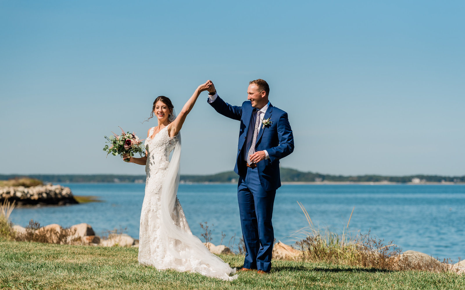 A wedding portrait on the Plymouth waterfront