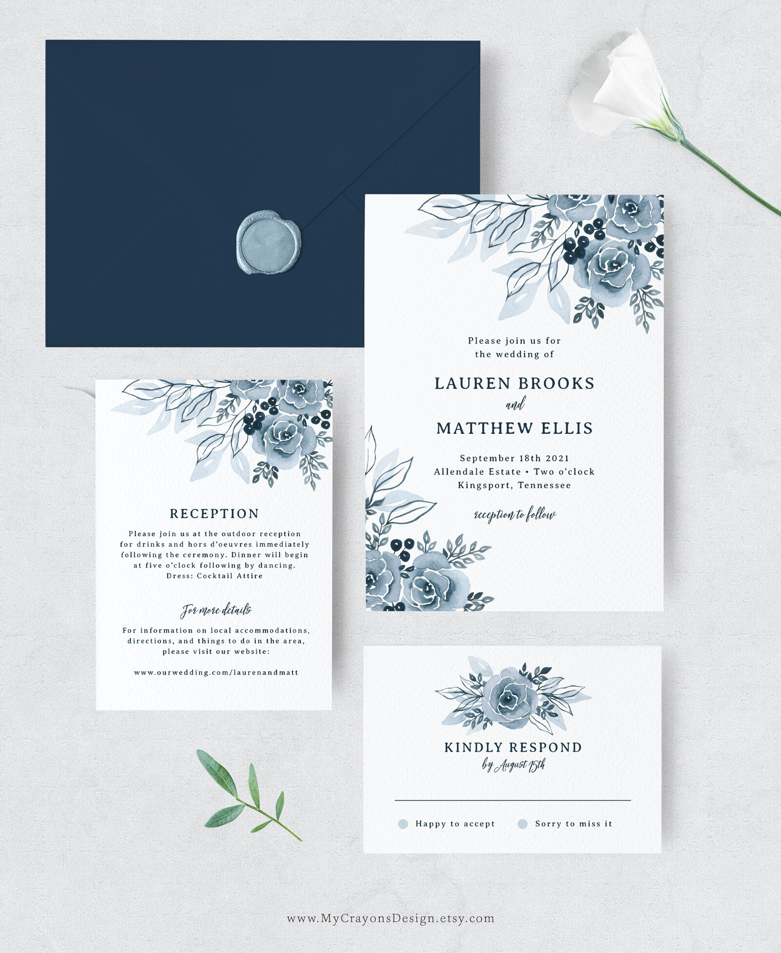 dusty blue wedding invitation set