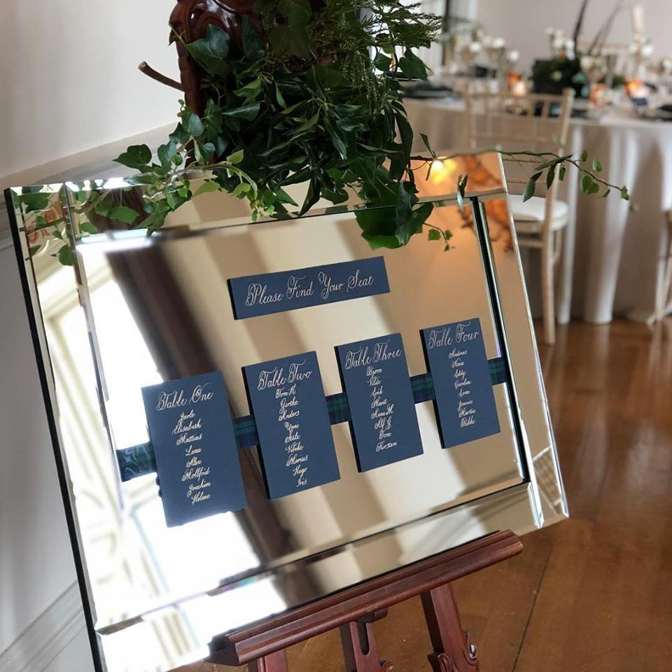 Copper calligraphy on navy card for mirror table plan, Scottish wedding
