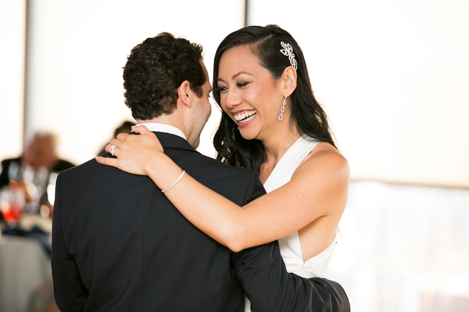 Sweet moment during the first dance at the University Club
