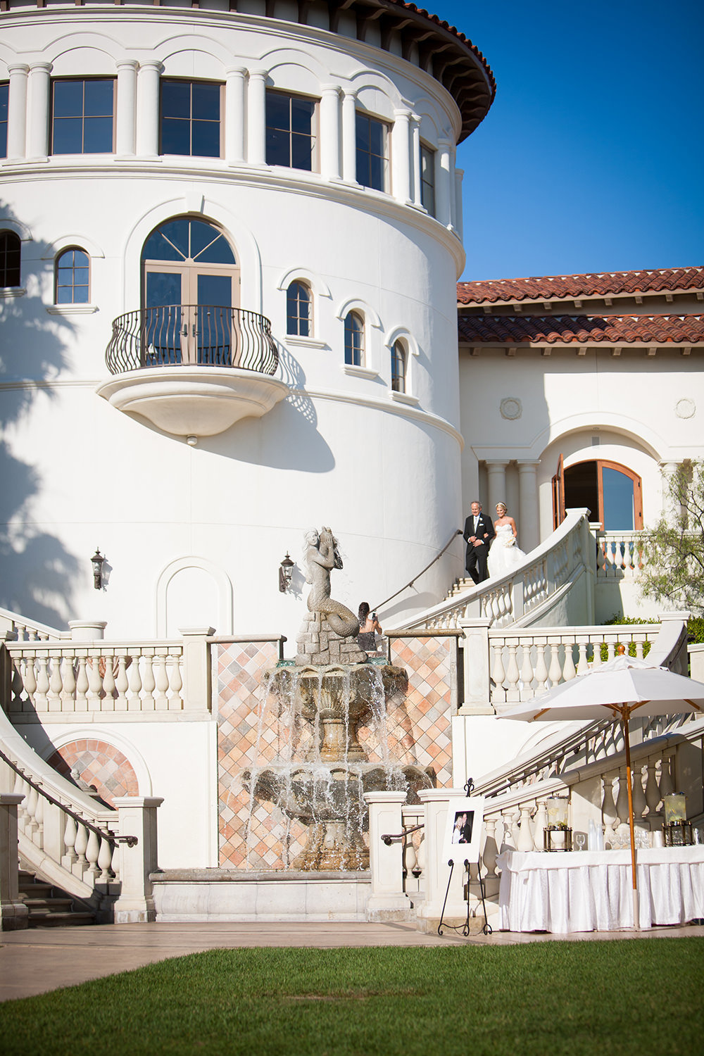 A bride makes  a dramatic entrance at the St Regis Monarch Beach