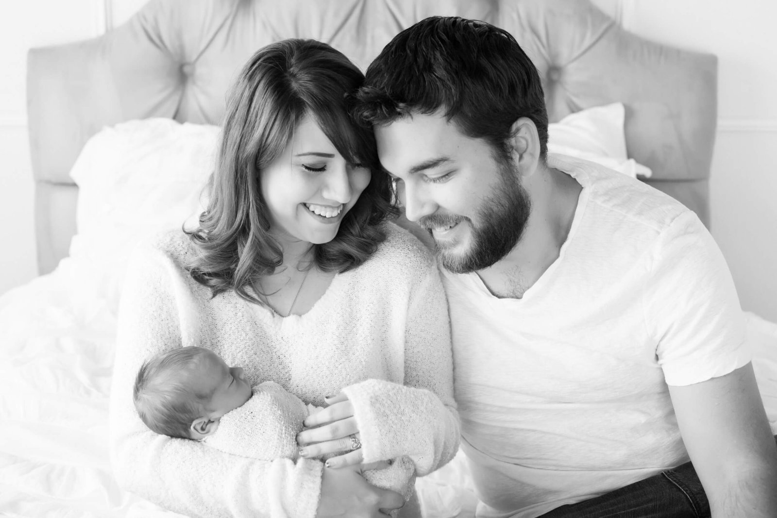 black and white newborn family portraits