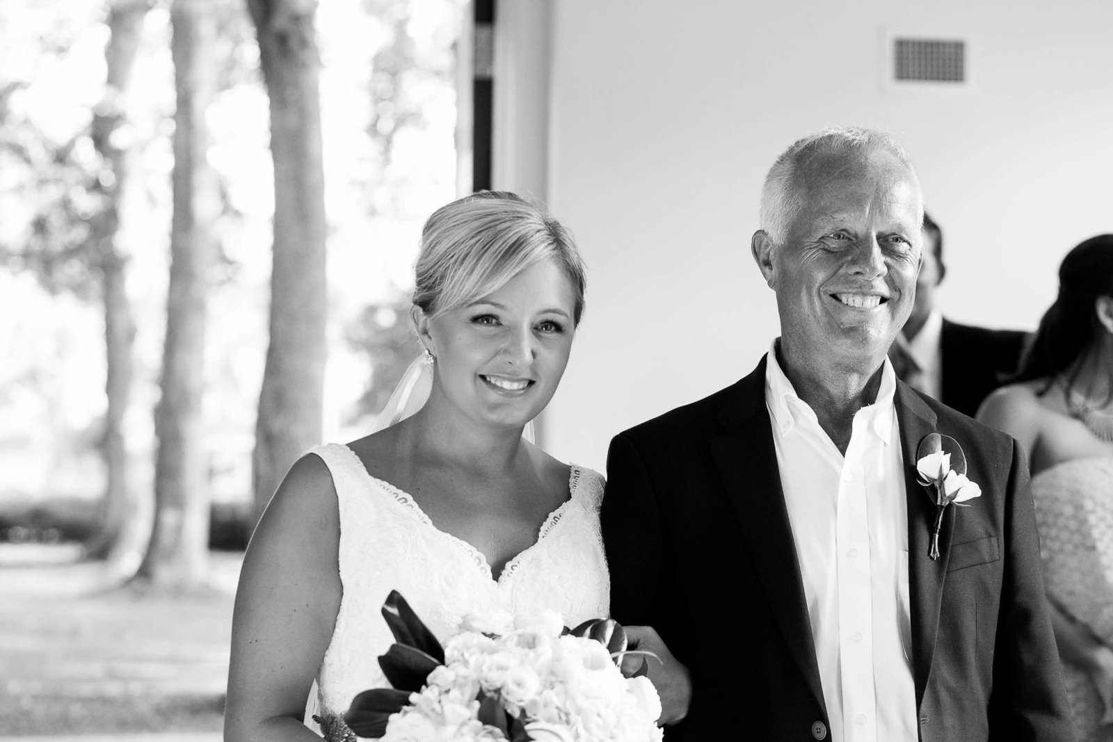 Bride and father walk up the aisle, Coleman Hall, Mt Pleasant, South Carolina