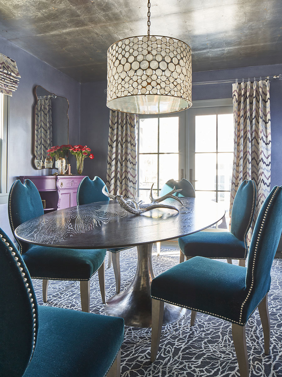 Oly Studio chandelier Donghia fabric dining room draperies