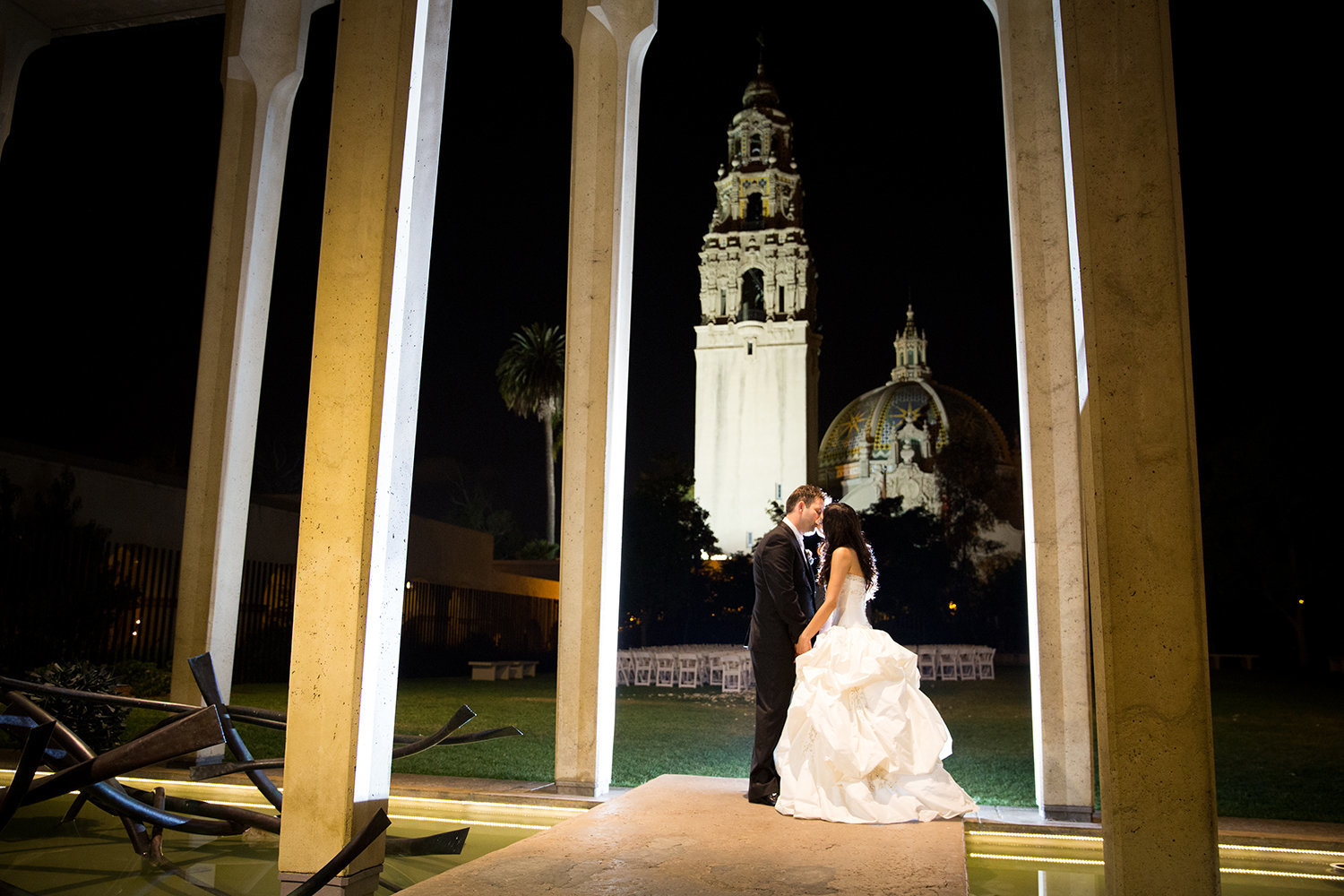 creative flash lit night time portrait of couple at Balboa Park