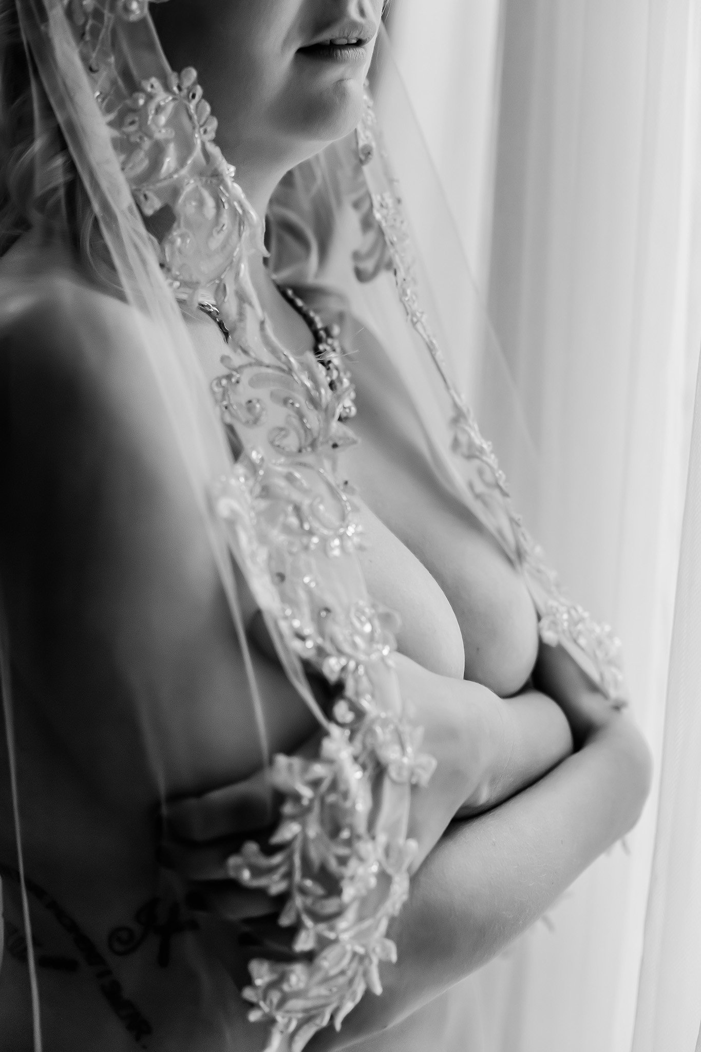 Bridal boudoir photo in black and white