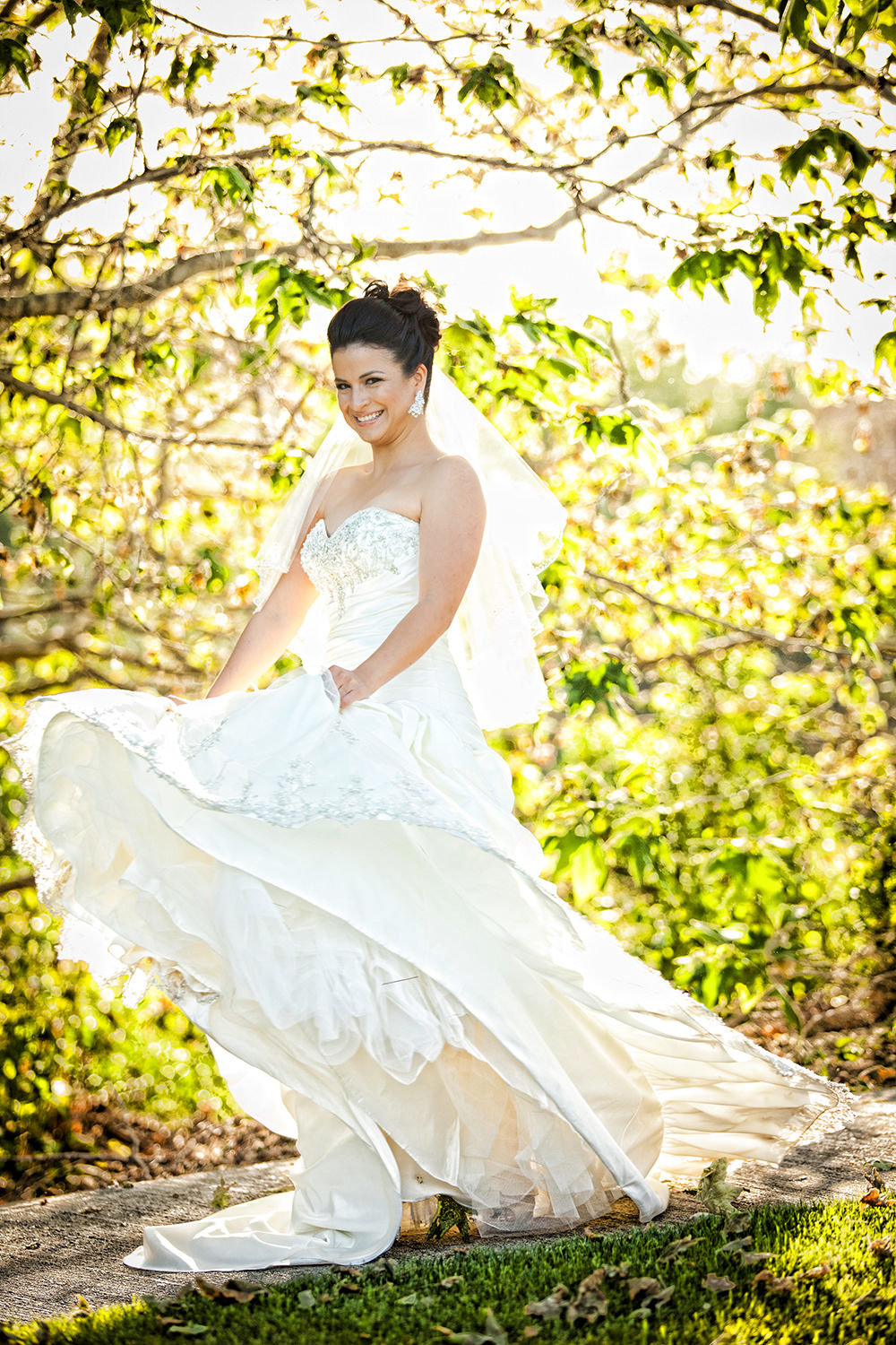 bride at the stunning wedgewood twirling dress