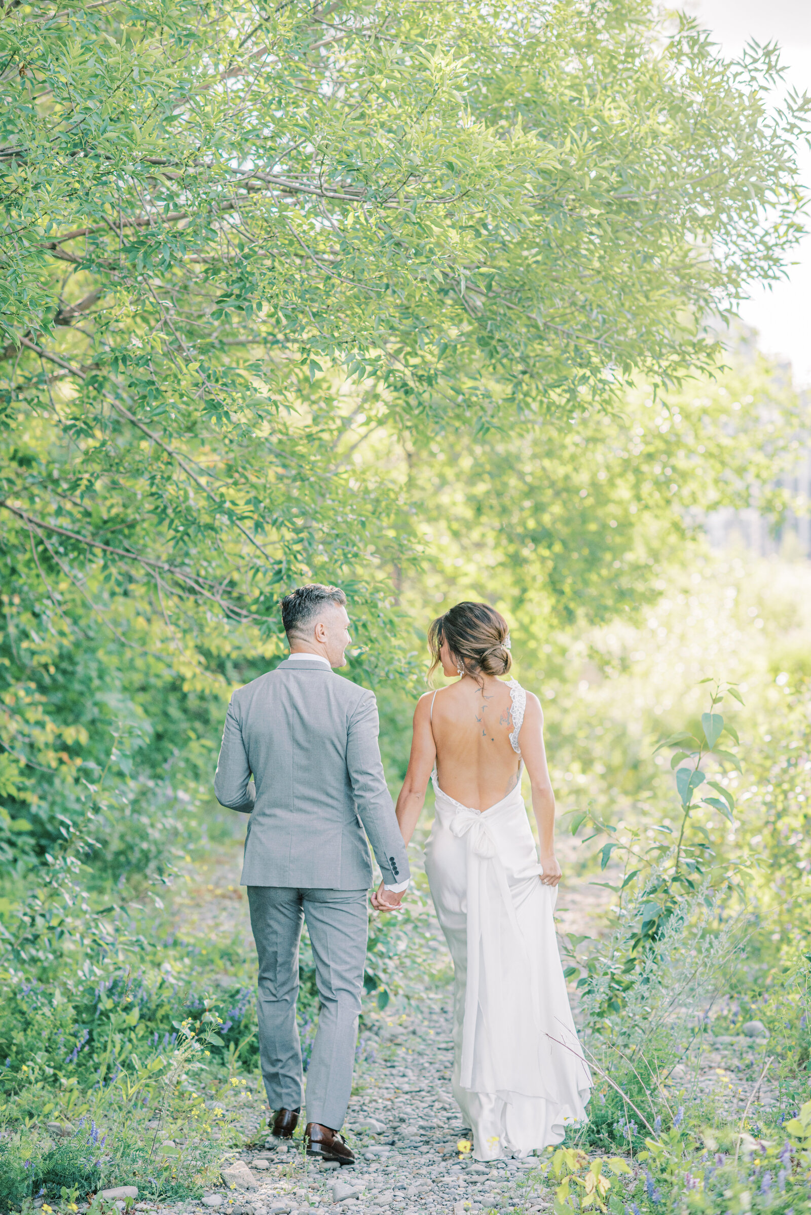 Bride and Groom walking portraits
