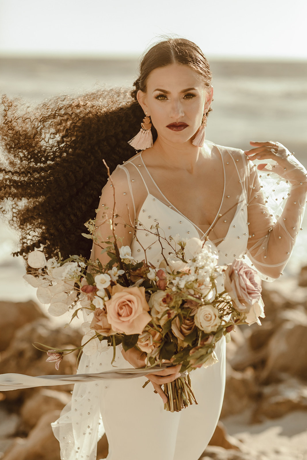 Celestial wedding inspiration_ beach elopement style-90