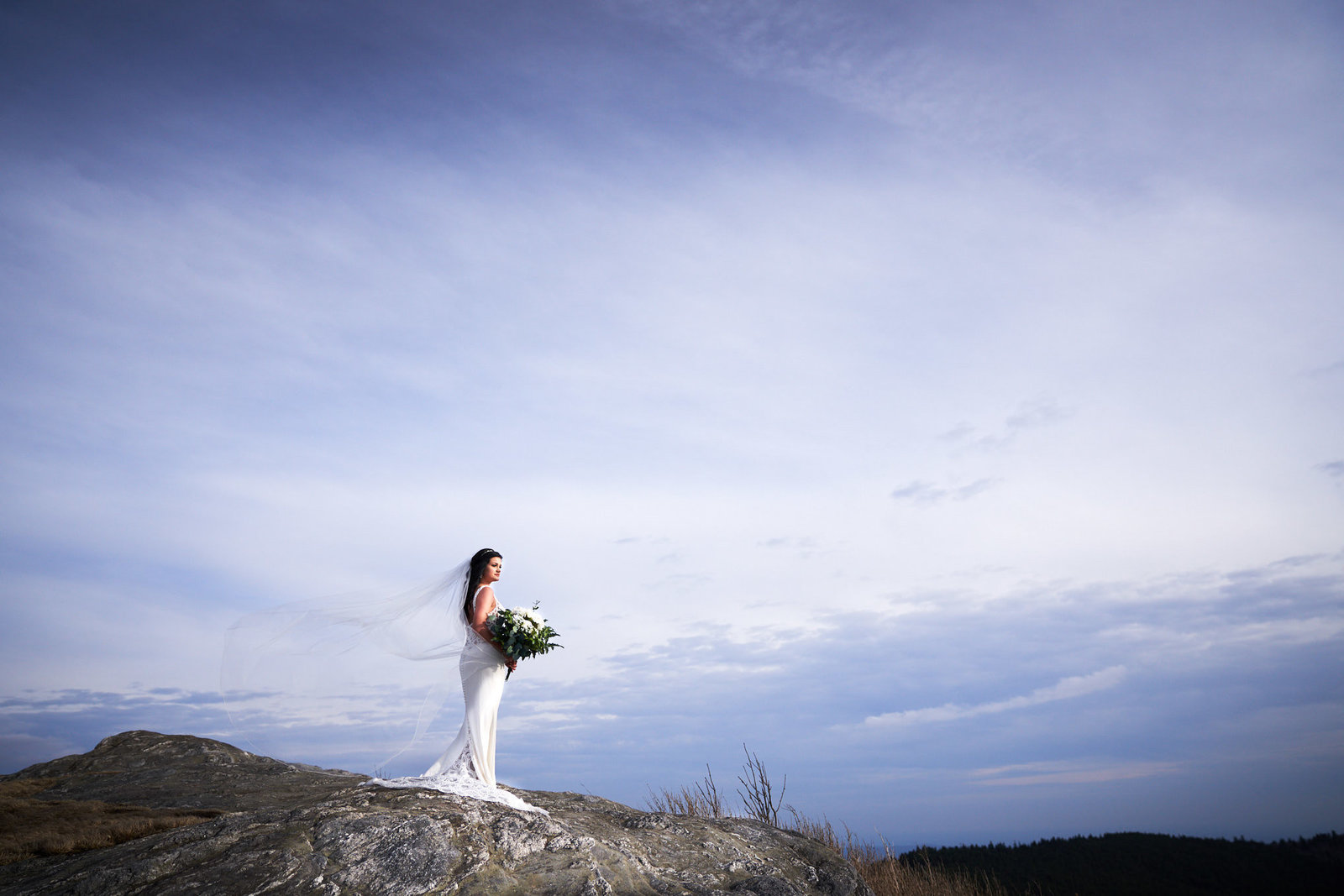 bride standing on side of mountain