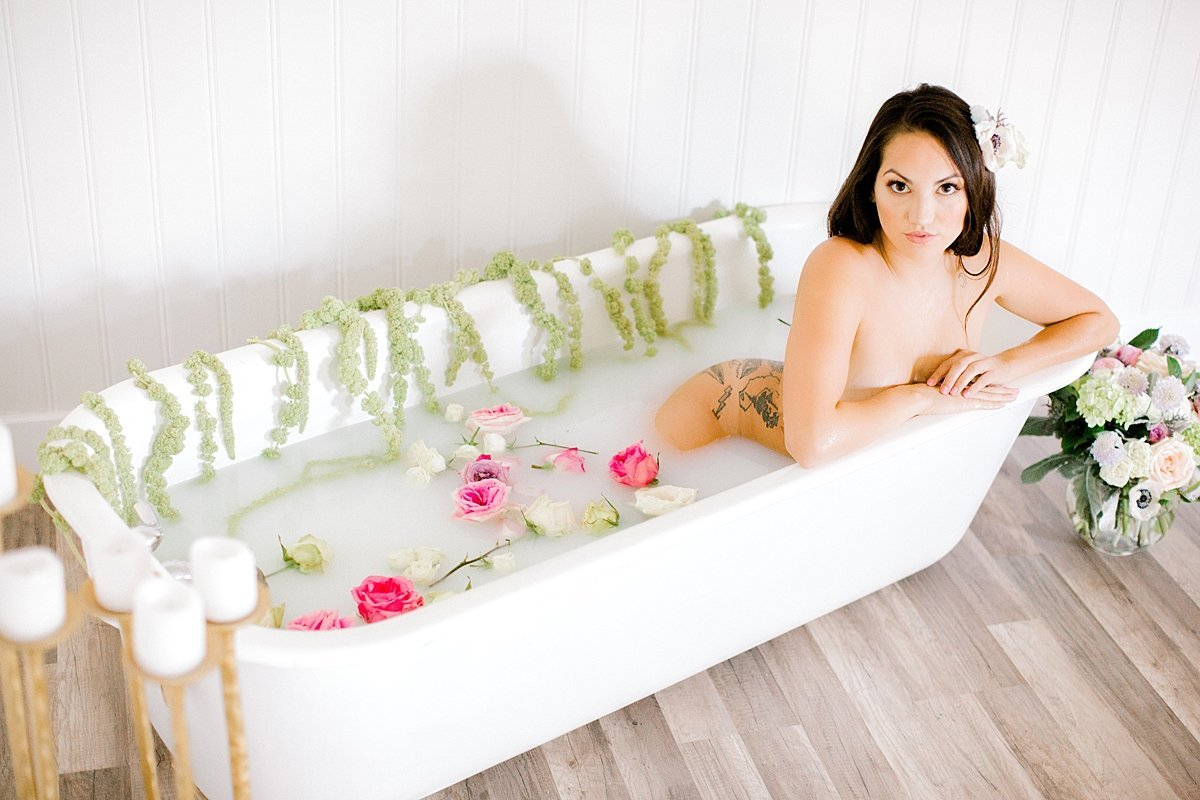 Sensual Milk Bath Boudoir Pastel Florals Ava Loren Design Norfolk VA Beach Yours Truly Portraiture-48