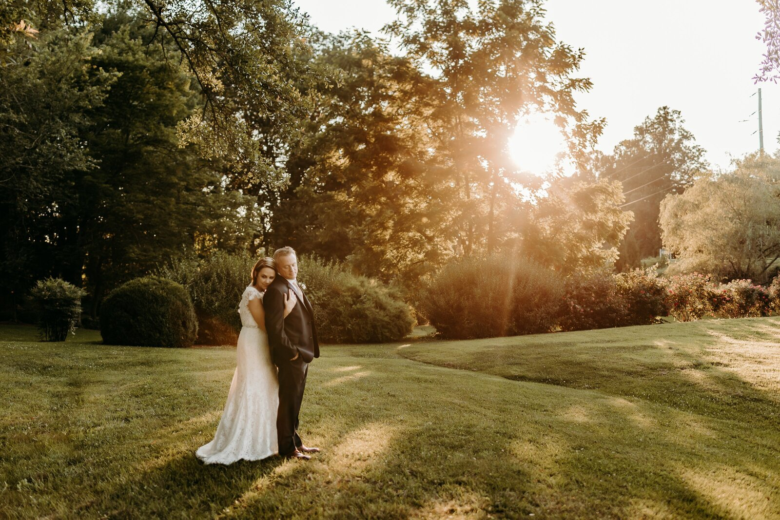 J.Michelle Photography photographs bride and groom sunset portrait