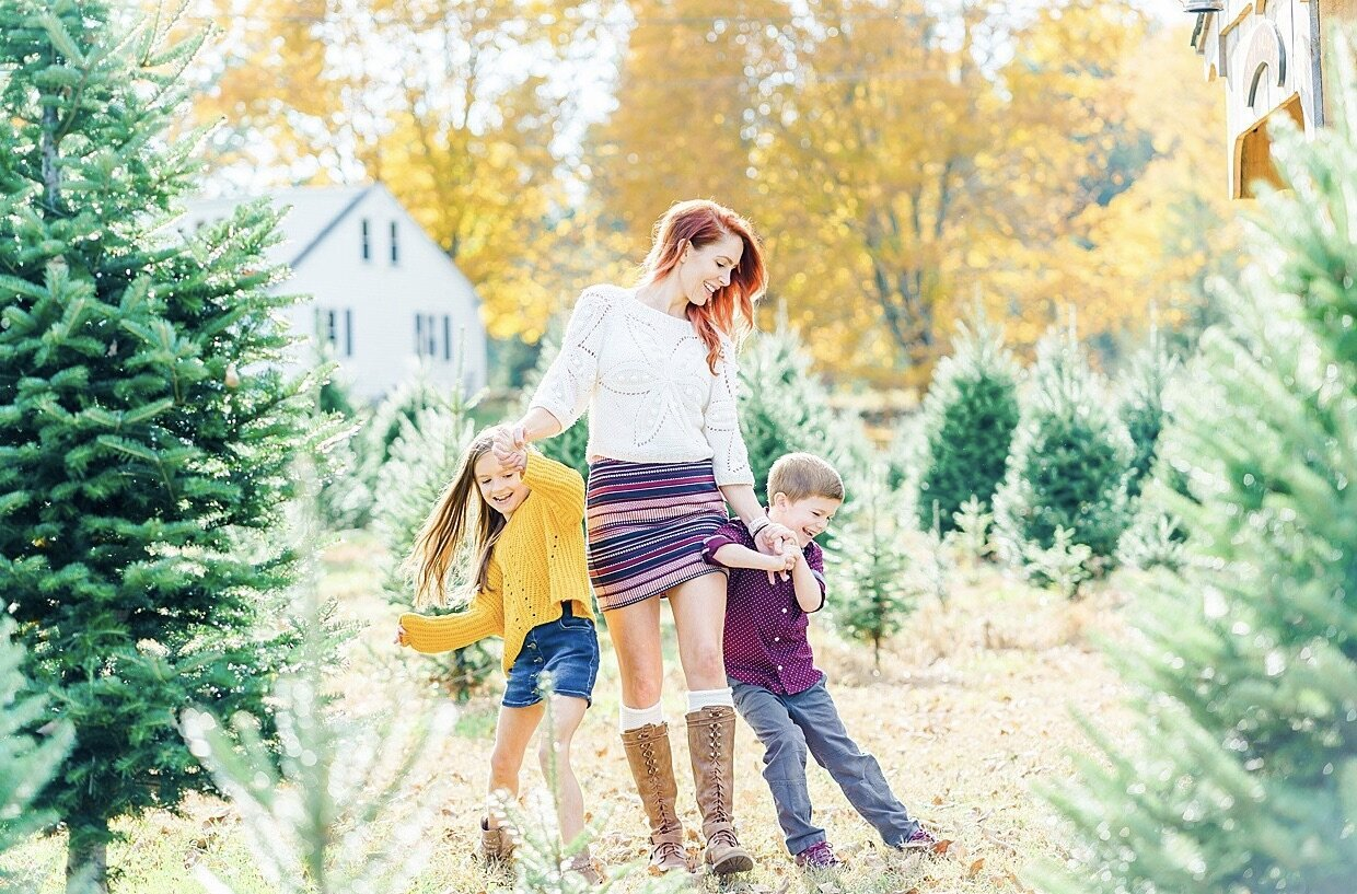 Family photography session at New England tree farm