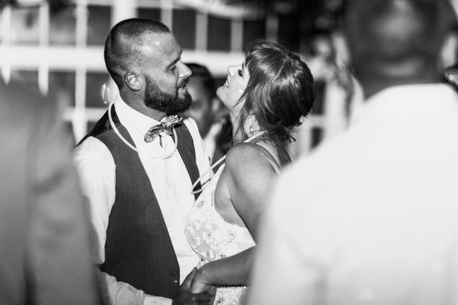black and white shot of wedding couple dancing candidly at monte verde inn wedding