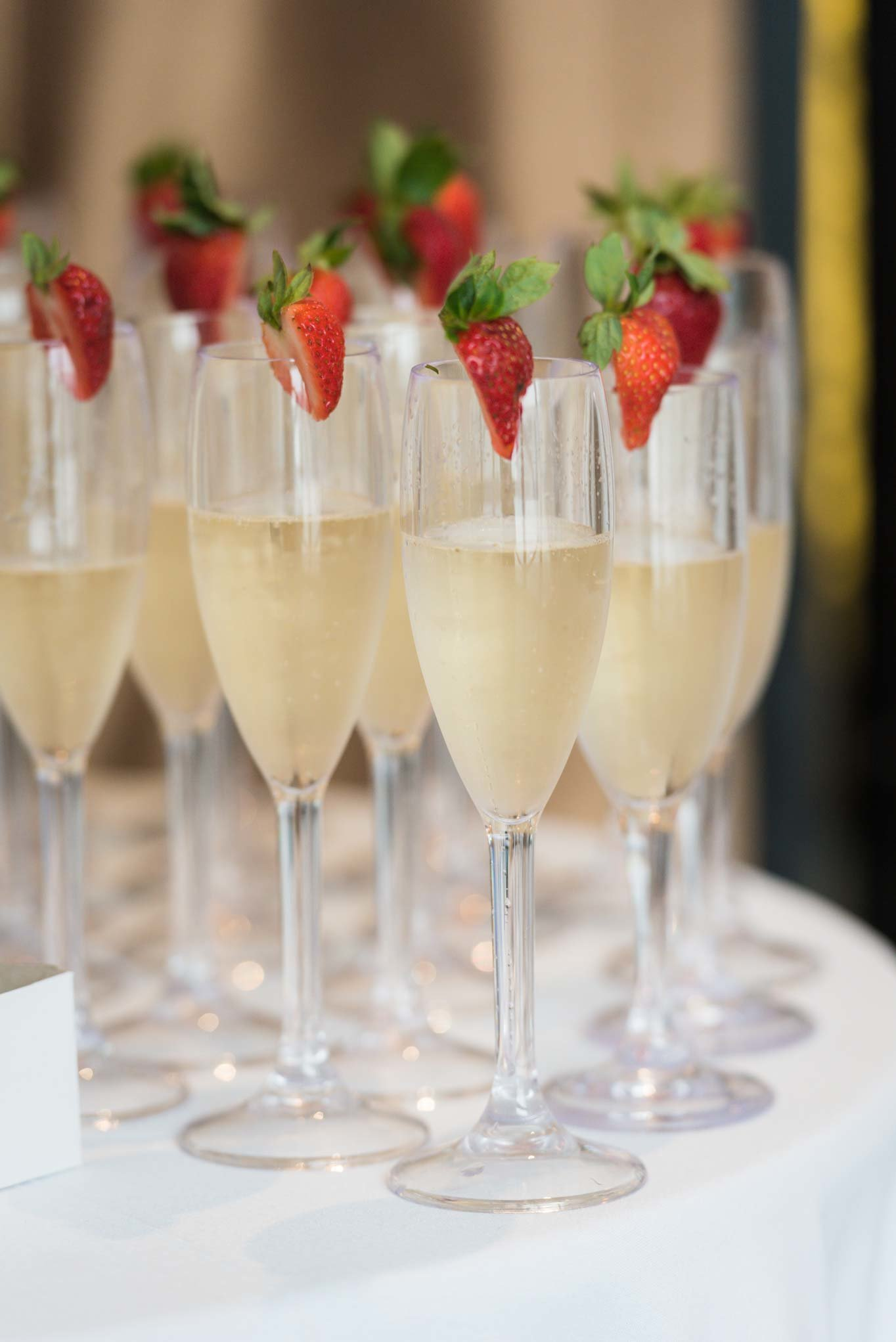 Champagne glasses with strawberries at Allegria Hotel