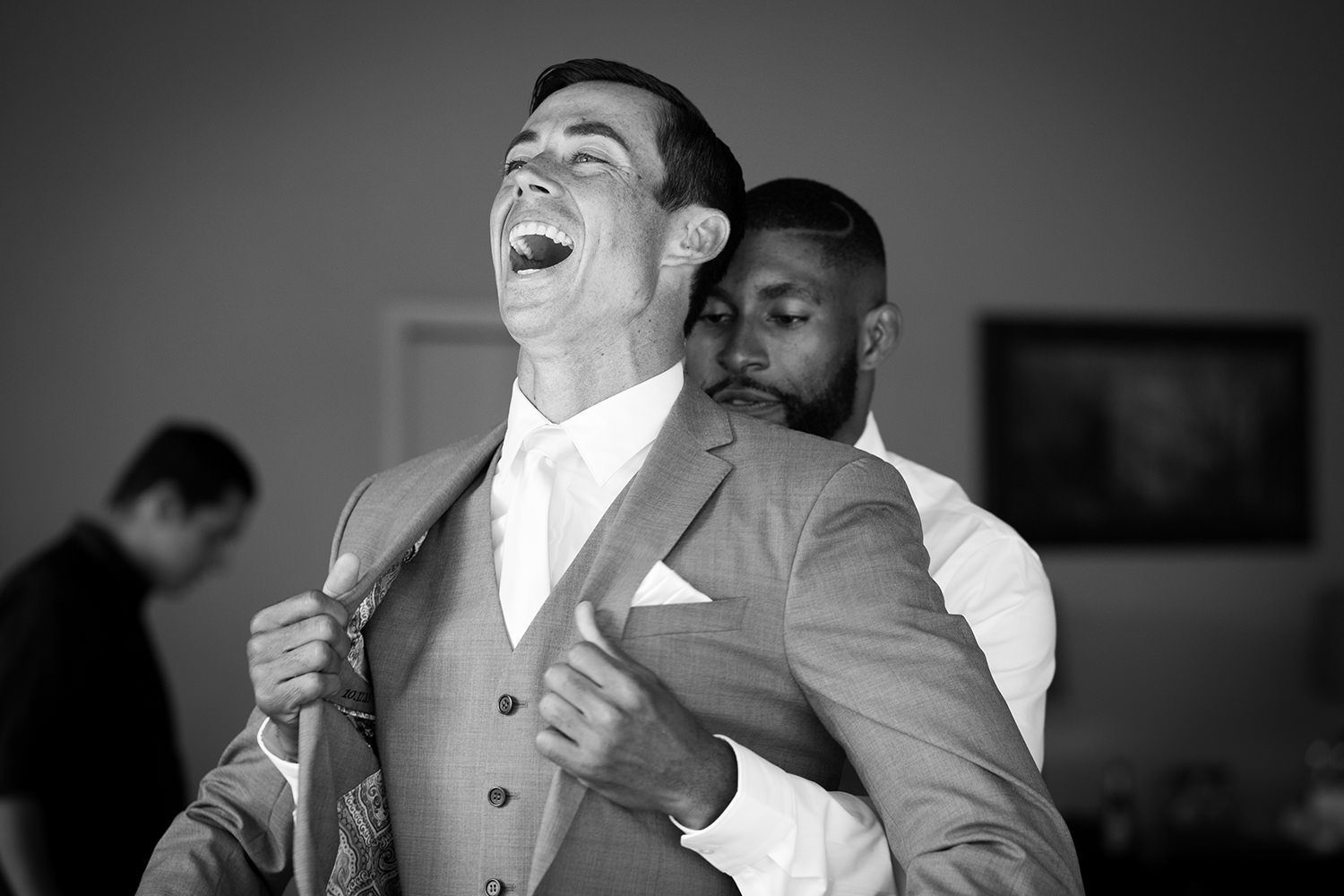 Funny moment as the groom gets ready