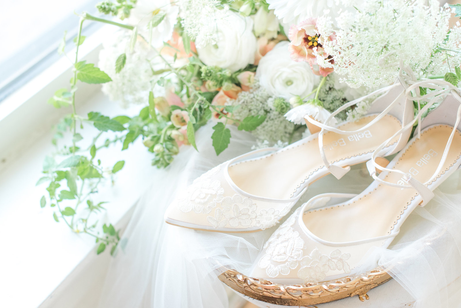 Bella Bella Wedding Heels in a vintage gold tray with florals