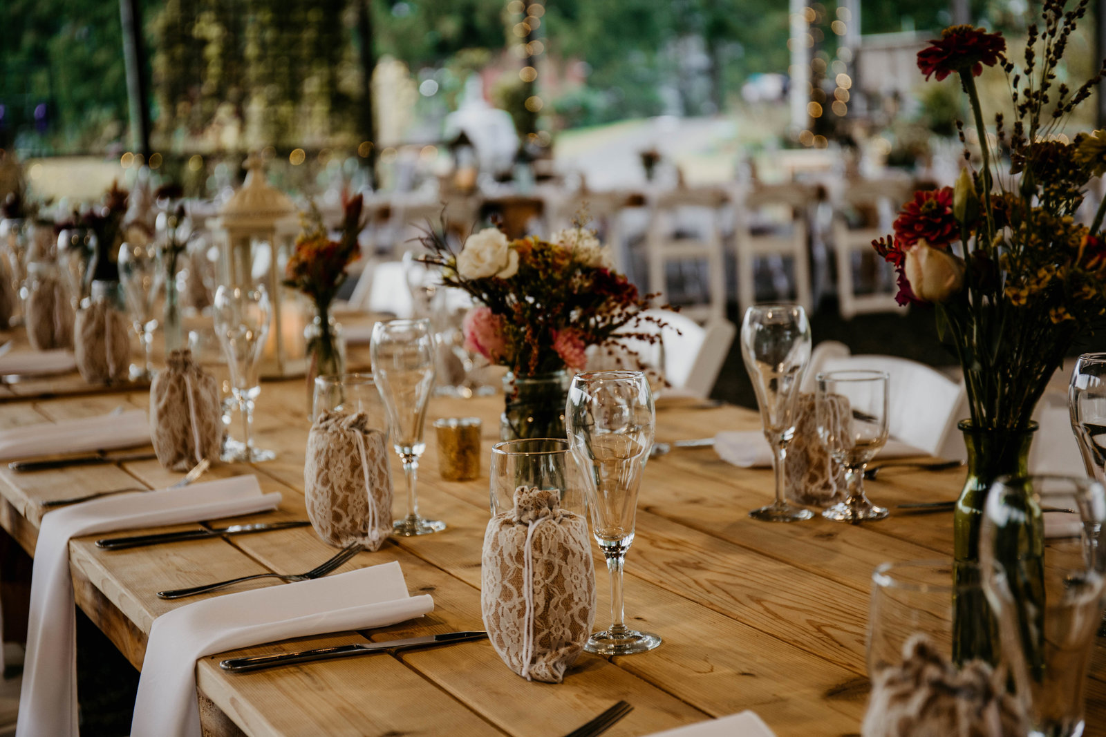 Table setting at a reception at Rustic Ridge View Farm.