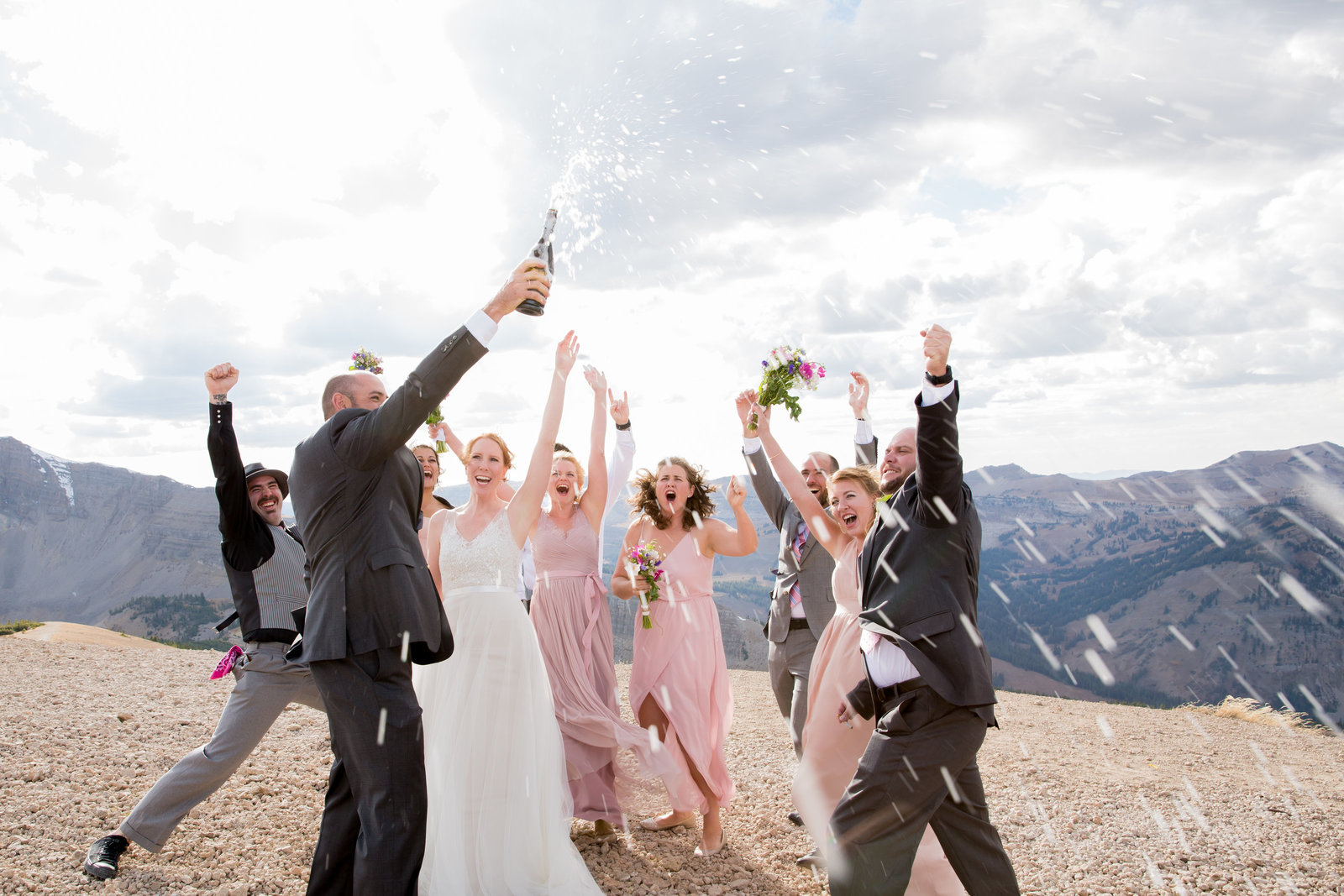 Jackson Hole Ski Resort wedding bridal party celebrating