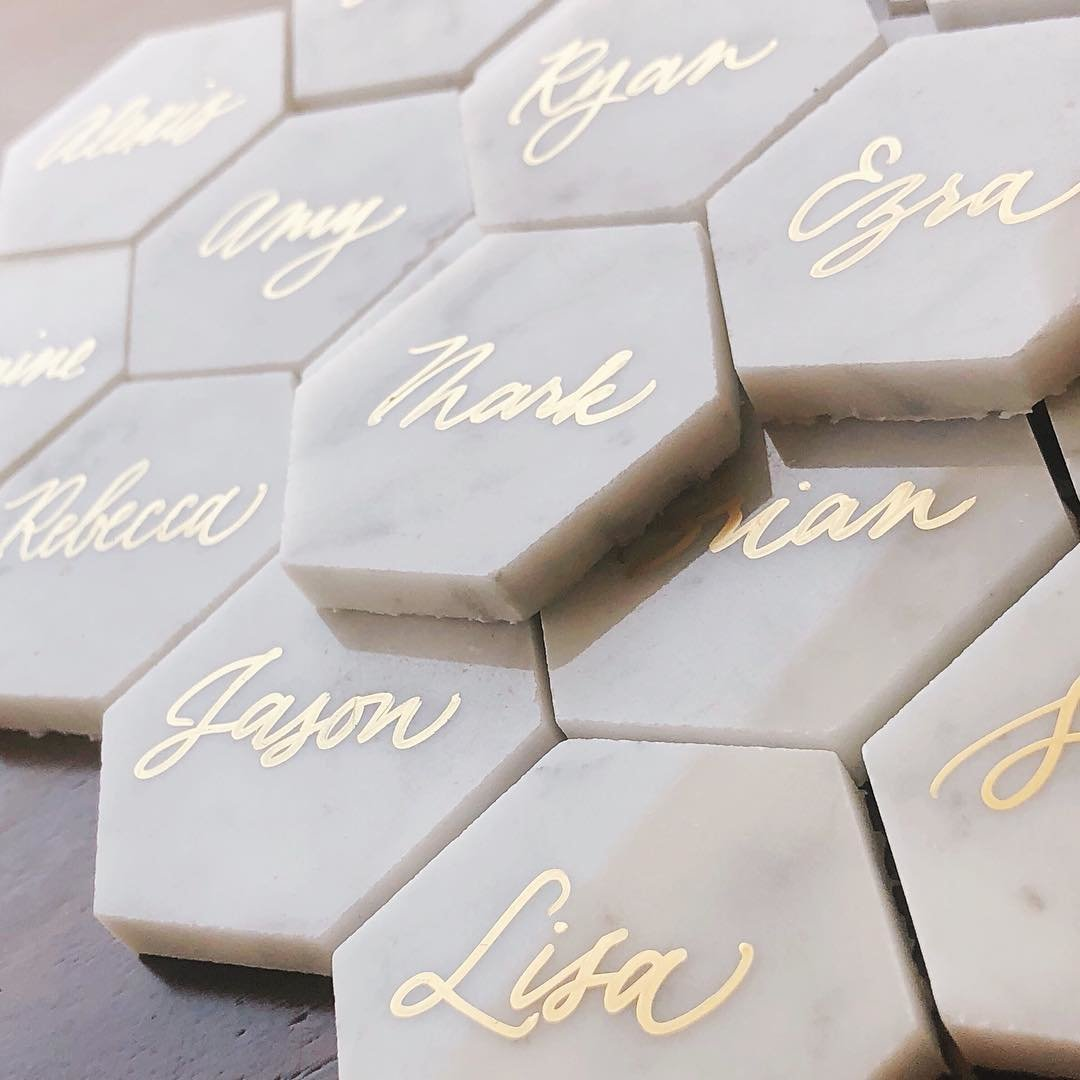 jomygoodness-gold-calligraphy-on-white-hexagon-tiles