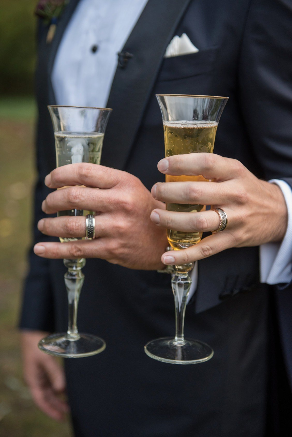 Champagne glasses for wedding toasts at Lord Thompson Manor, CT