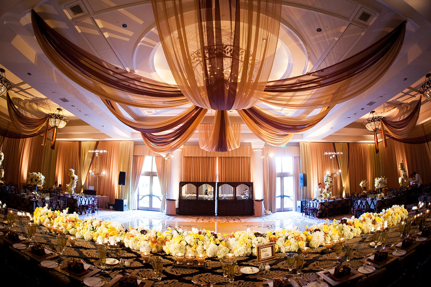 Elaborate and elegant wedding reception room design