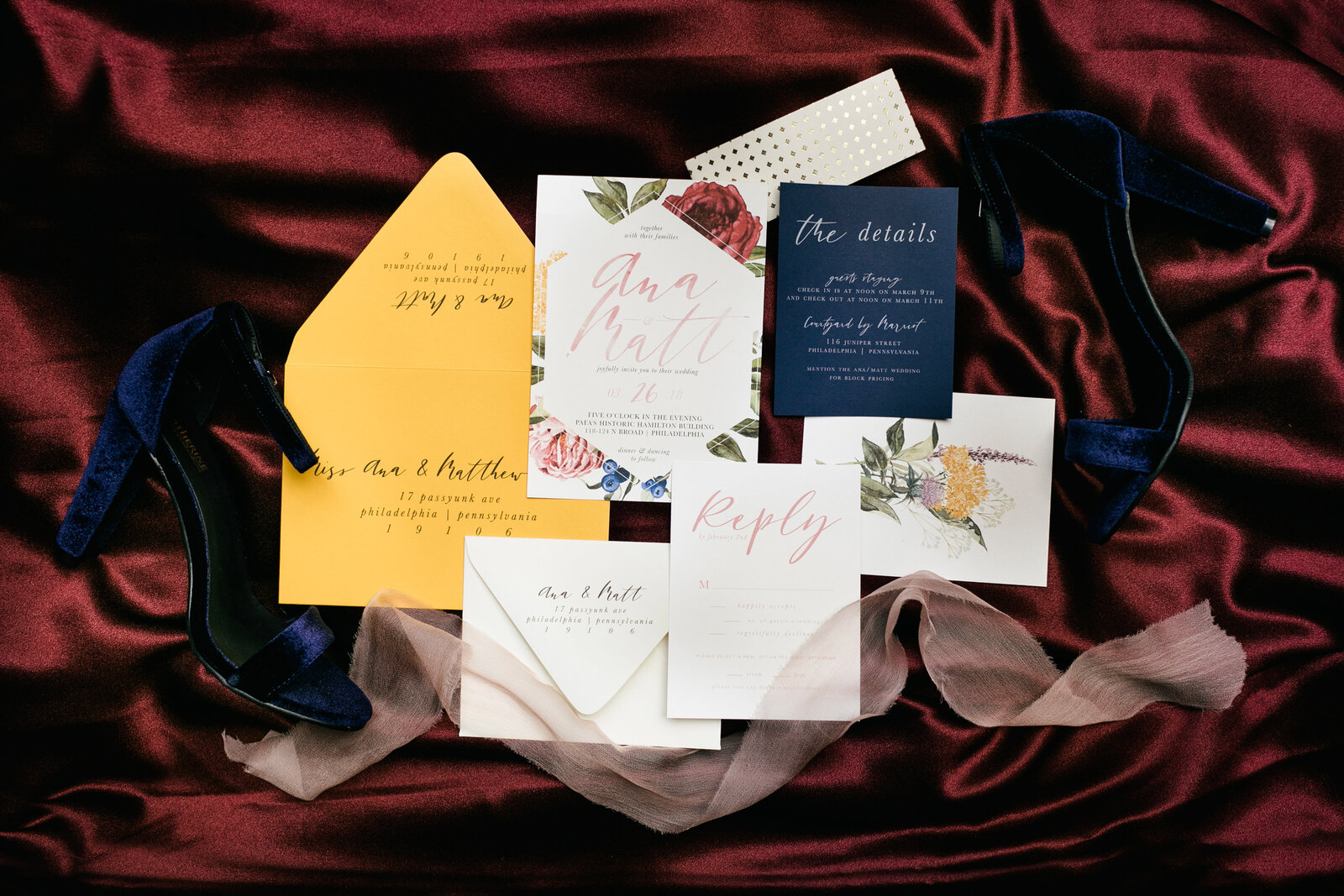 wedding invitations and shoes