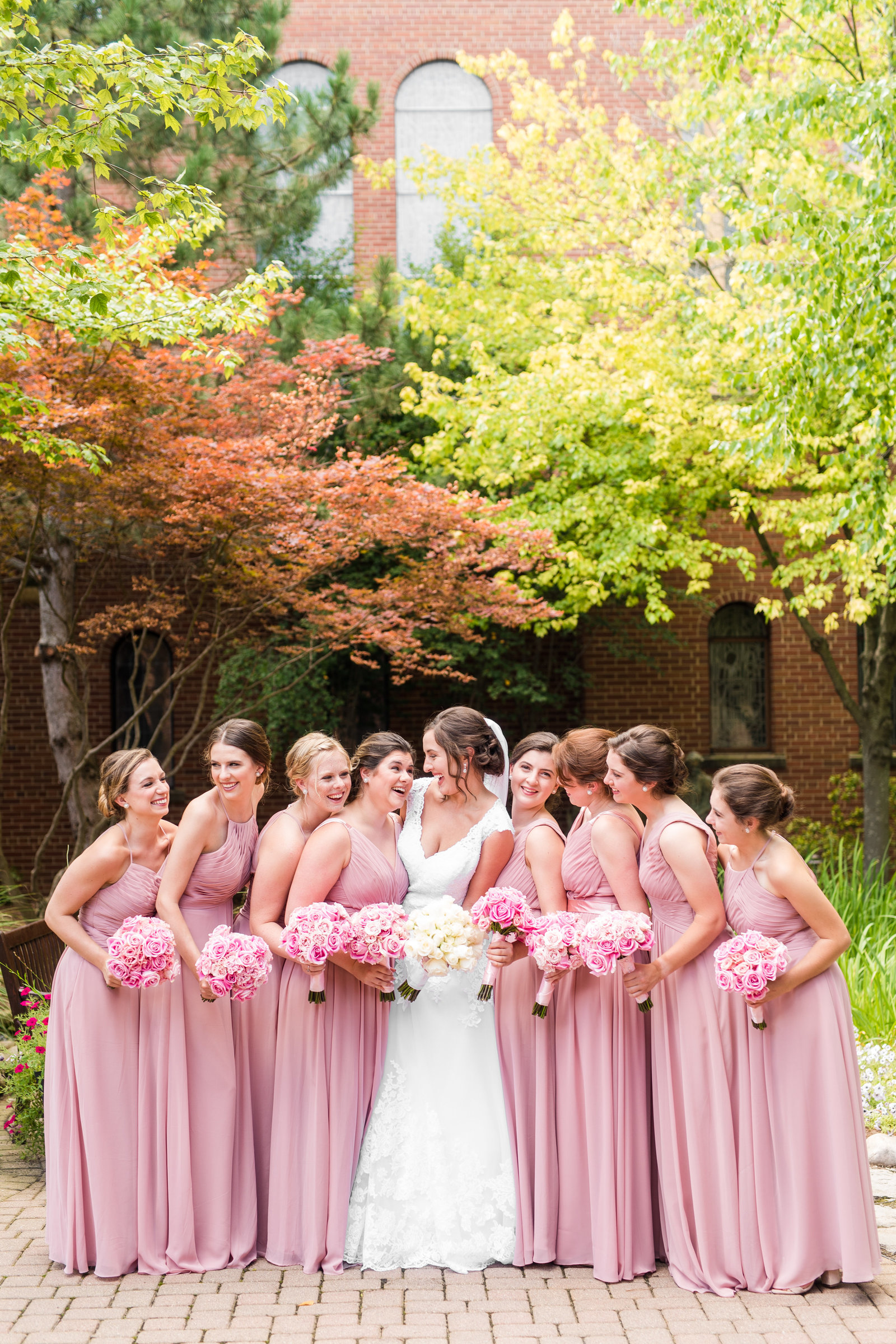Bride and Bridesmaid Portraits Blush Pink Wedding Florals Fall Virginia Wedding Photographer