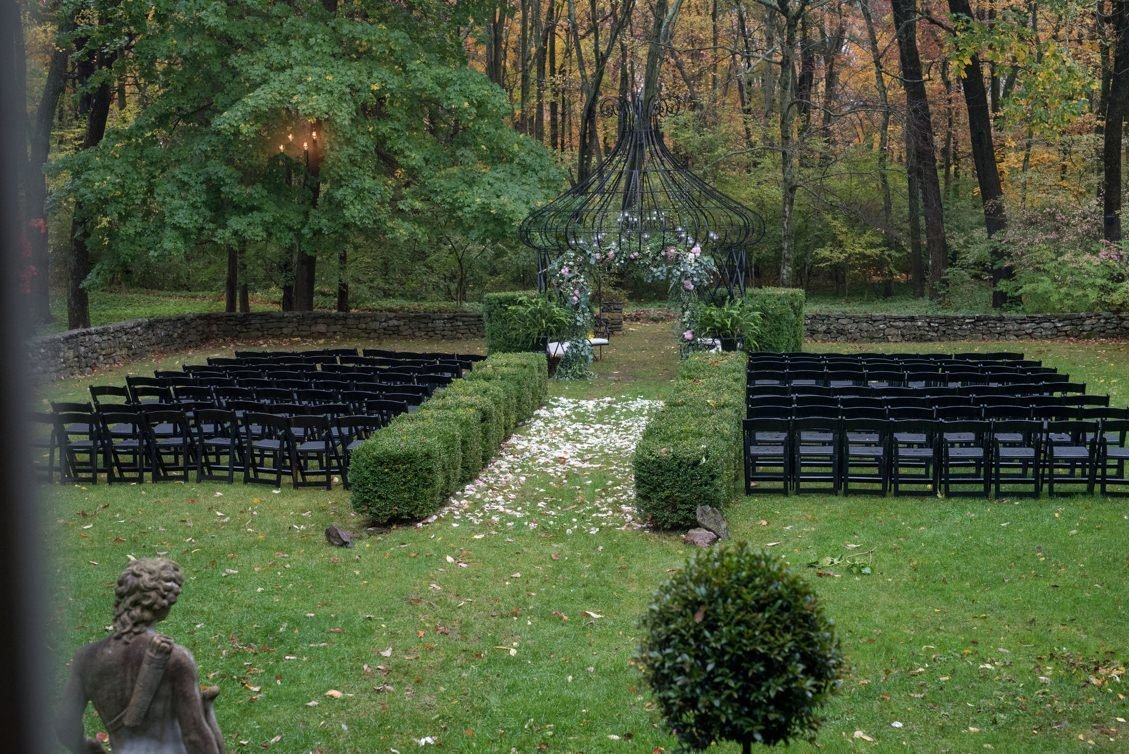 Brendan & Ryan's outdoor wedding ceremony at Lord Thompson Manor in CT