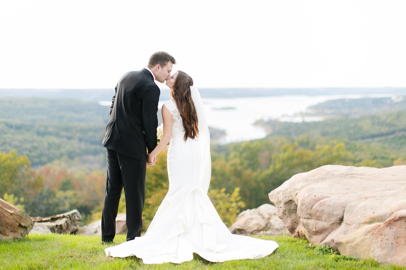 table rock lake with couple kissing