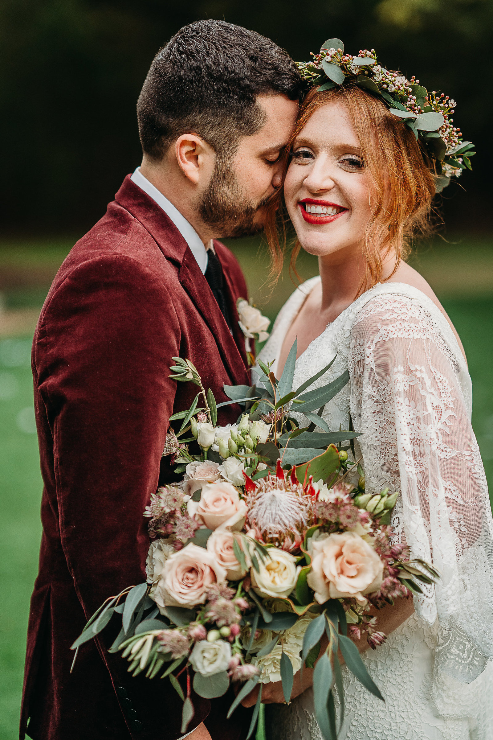 boho wedding couple portrait