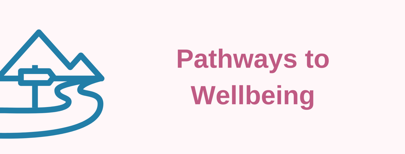 Red text: Pathways to Wellbeing. Mountain with Path and signpost outlined.