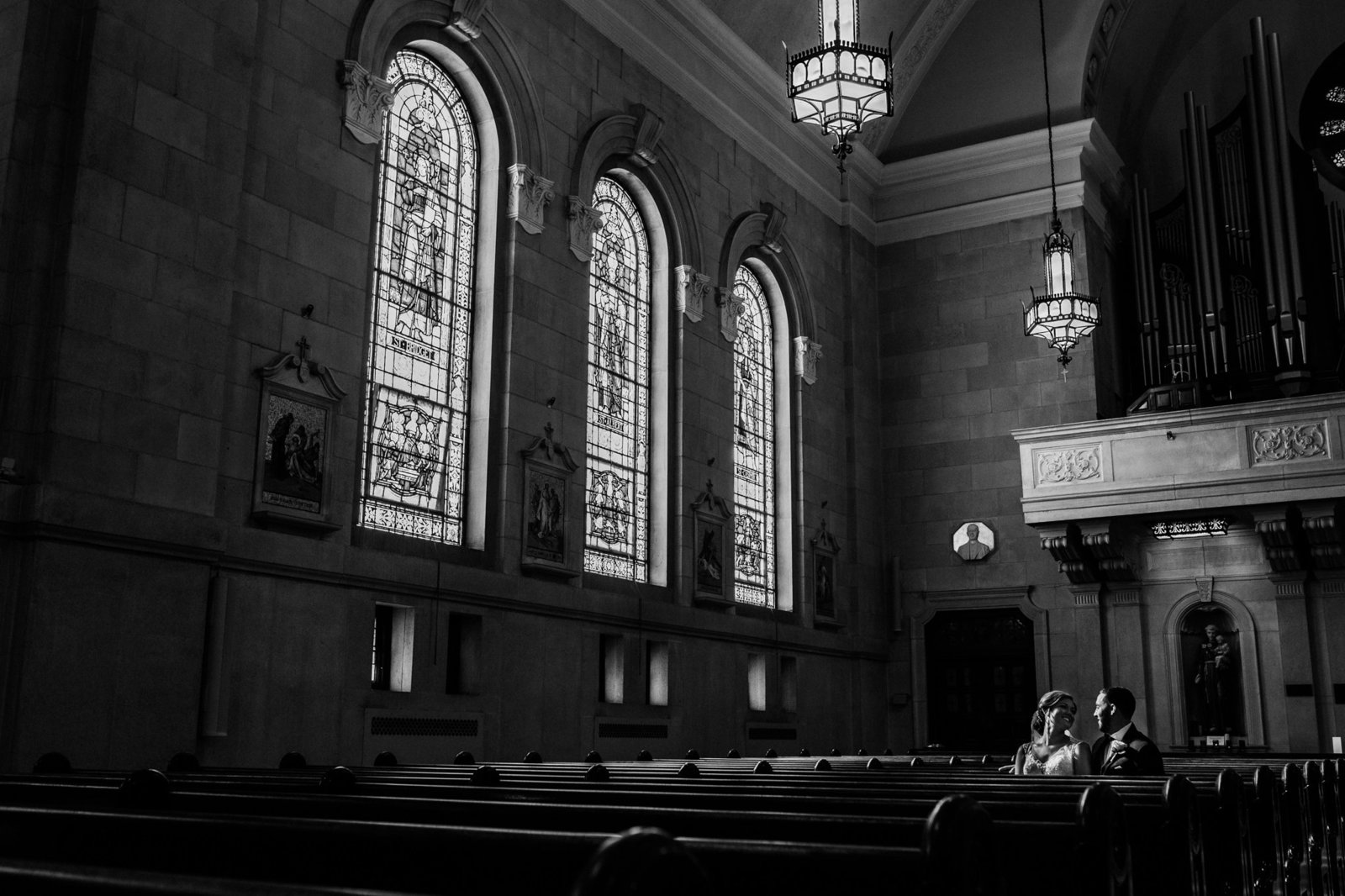black and white portrait at st elizabeths church in wilmington de