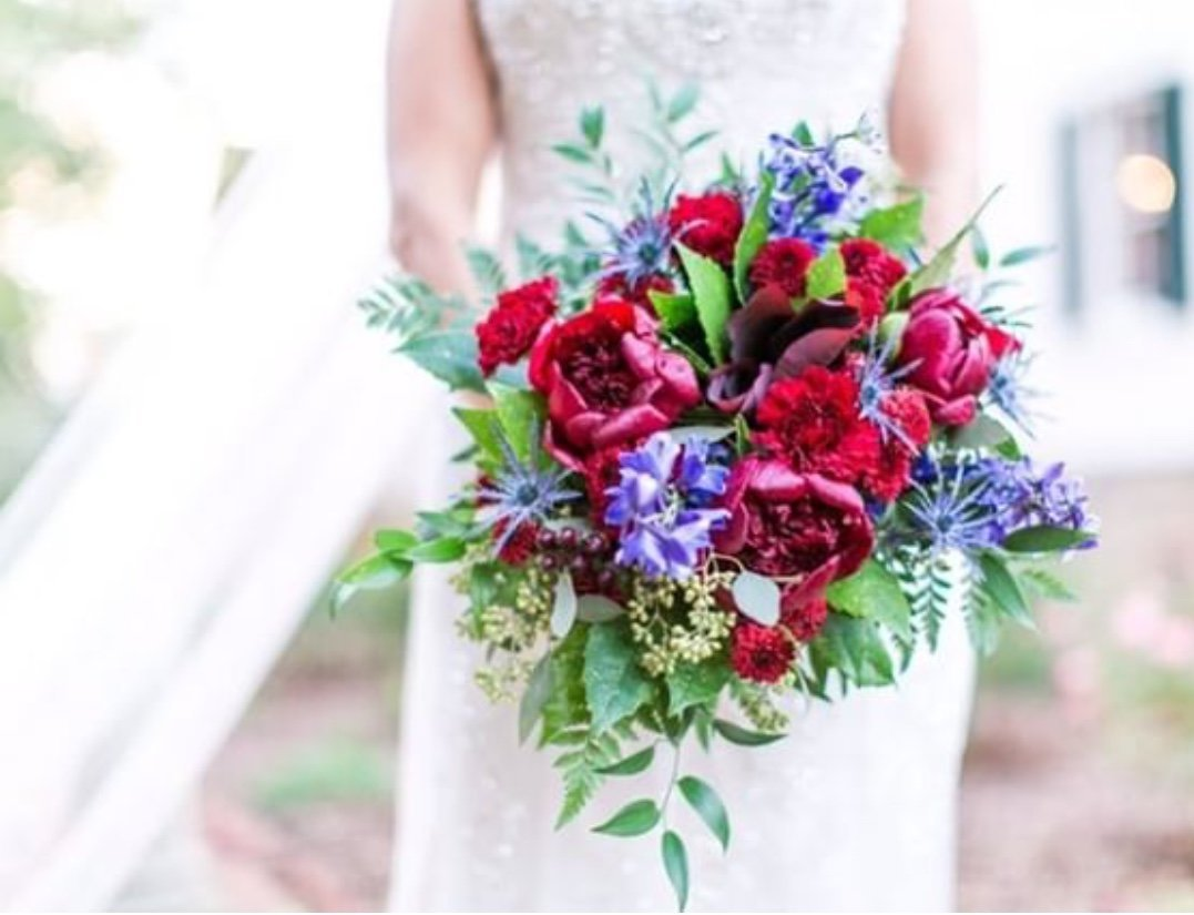 Rustic bouquet with peonies and delphinium  for garden wedding